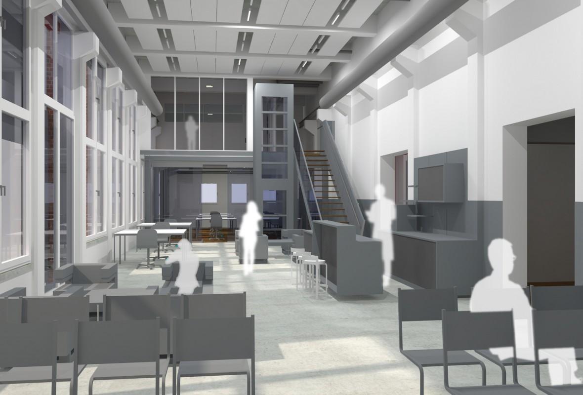 Ansicht - Umbau & Sanierung ehem. Werkstatt und Sozialgebäude zu Ferienwohnungen und dem InnovationPort der Hochschule Wismar in Wismar im Jahr 2021